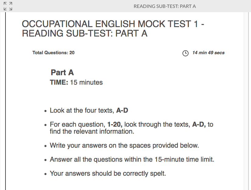 A preview sample reading Occupational English Mock Test 1 - Reading Sub test: Part A