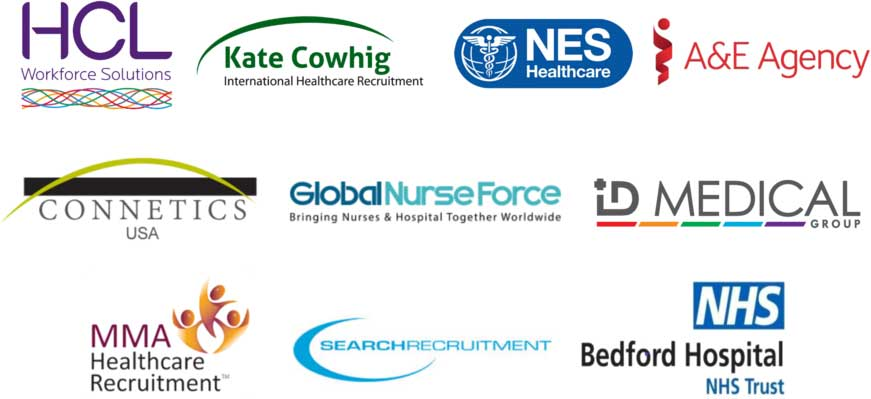HCL Workfoce Solutions,Kate Cowhig International Healthcare Recruitment,NES Healthcare,A&E Agency,Connetics USA,Global Nurse Force, Id Medical Group,MMA Healthcare Recruitment,Search Recruitment,NHS Bedford Hospital NHS Trust Logos